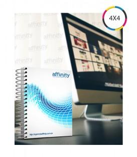 Cadernos Corporativos |Capa e contra capa personalizadas: Capa dura revestida com Papel Reciclato | 120g/m² + BOPP Fosca Frente