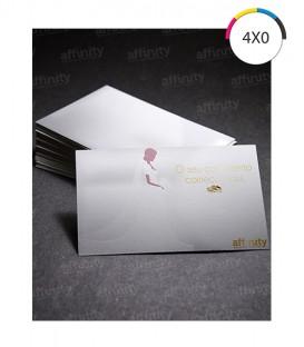 Cartões de Visita | Corte Reto Metallium | 215g | 100 un. | 5x9 cm